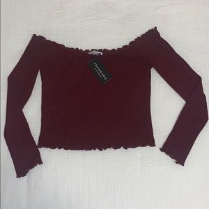 Burgundy off the shoulder crop top